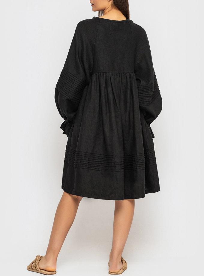 Платье из льна с пуговицами и пышными рукавами MRND_М100-2, фото 1 - в интернет магазине KAPSULA