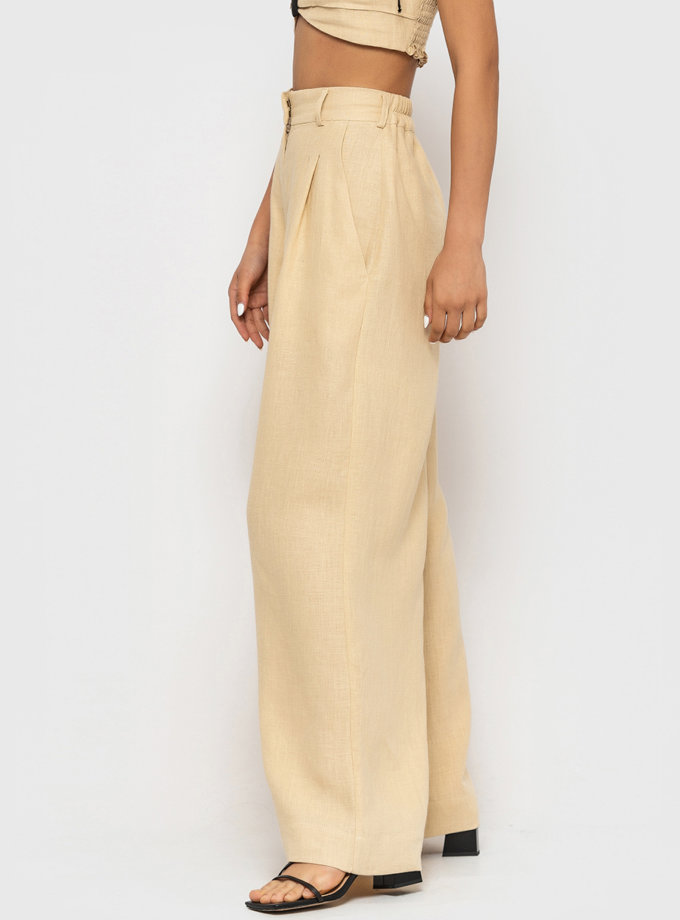 Лляні штани палаццо MRND_М104-1, фото 1 - в интернет магазине KAPSULA