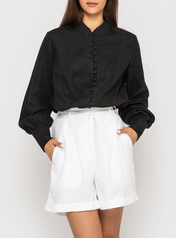 Льняные шорты бермуды с защипами MRND_105-1, фото 1 - в интернет магазине KAPSULA