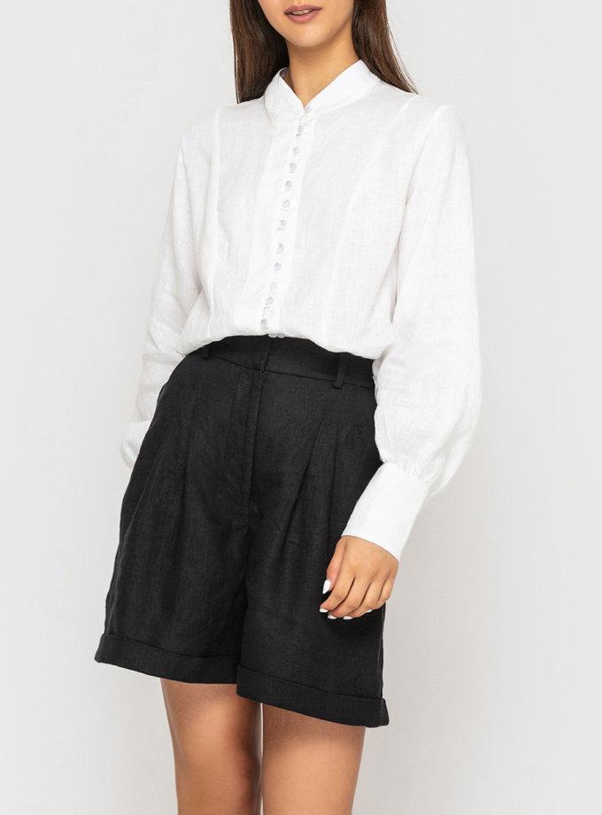 Льняные шорты с защипами MRND_105-2, фото 1 - в интернет магазине KAPSULA
