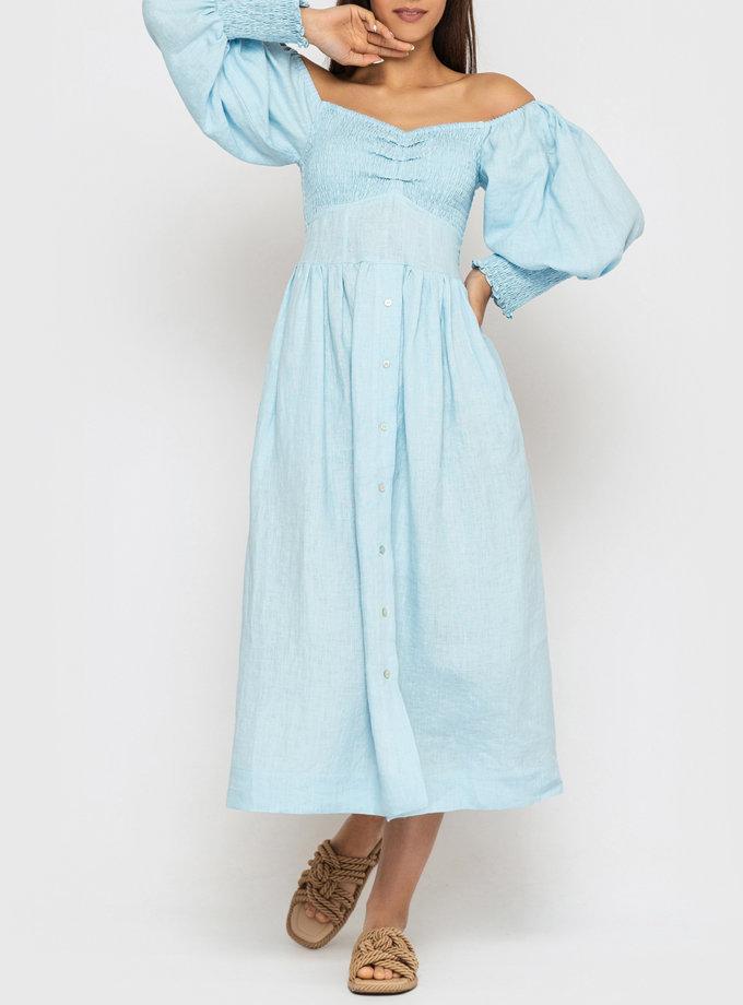 Льняное платье с рукавами-фонариками MRND_М107-3, фото 1 - в интернет магазине KAPSULA