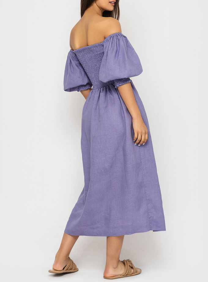 Льняное платье с рукавами-фонариками MRND_М107-4, фото 1 - в интернет магазине KAPSULA