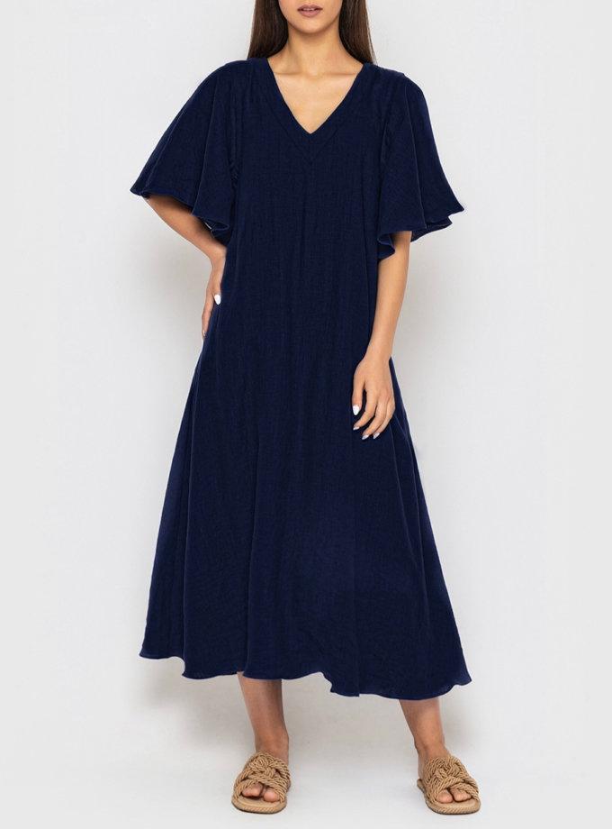 Льняное платье с рукавами-крылышками MRND_М109-1, фото 1 - в интернет магазине KAPSULA