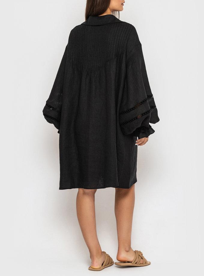 Льняное платье-рубашка с кружевом и пышными рукавами MRND_М110-2, фото 1 - в интернет магазине KAPSULA