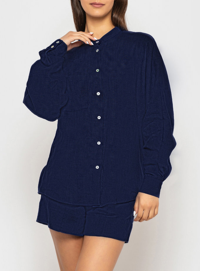 Лляна сорочка оверсайз MRND_М112-3, фото 1 - в интернет магазине KAPSULA