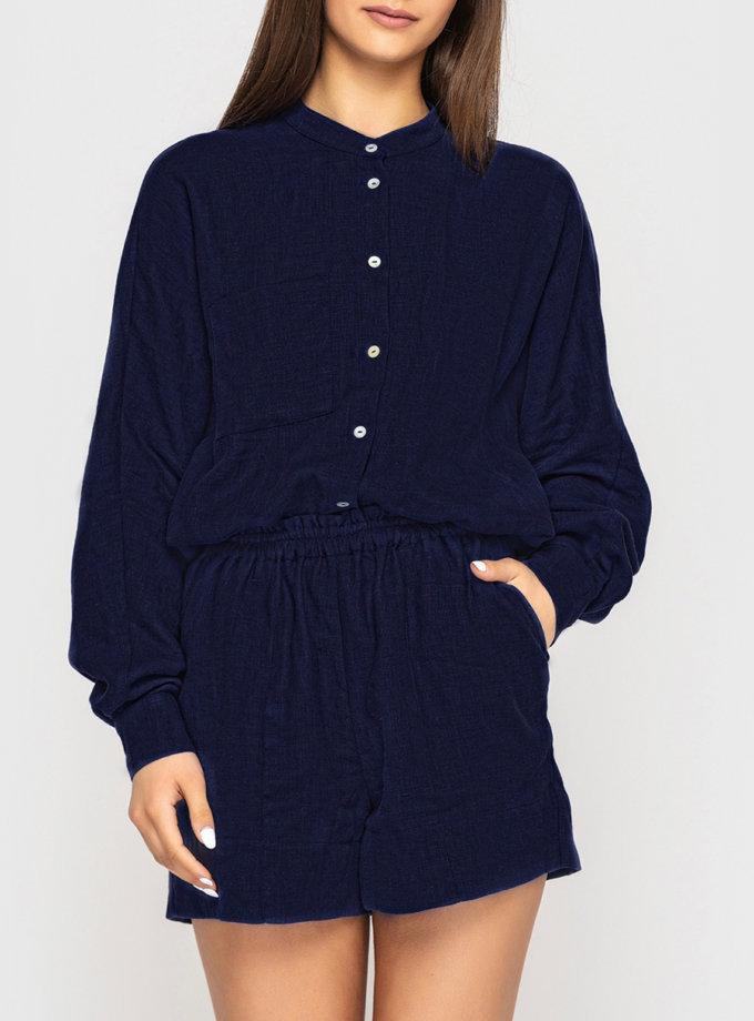 Льняные шорты на резинке MRND_М113-3, фото 1 - в интернет магазине KAPSULA