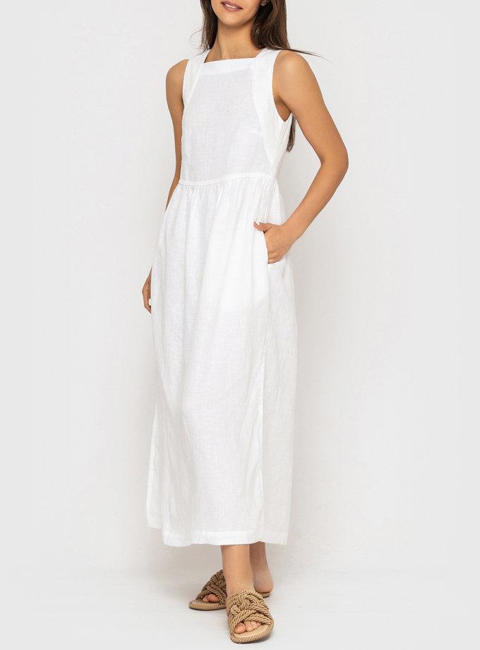 Платье из льна с разрезами по бокам MRND_М114-1, фото 1 - в интернет магазине KAPSULA