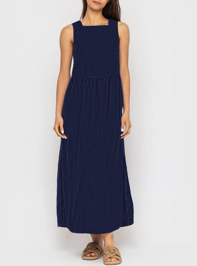 Платье из льна с разрезами по бокам MRND_М114-3, фото 1 - в интернет магазине KAPSULA