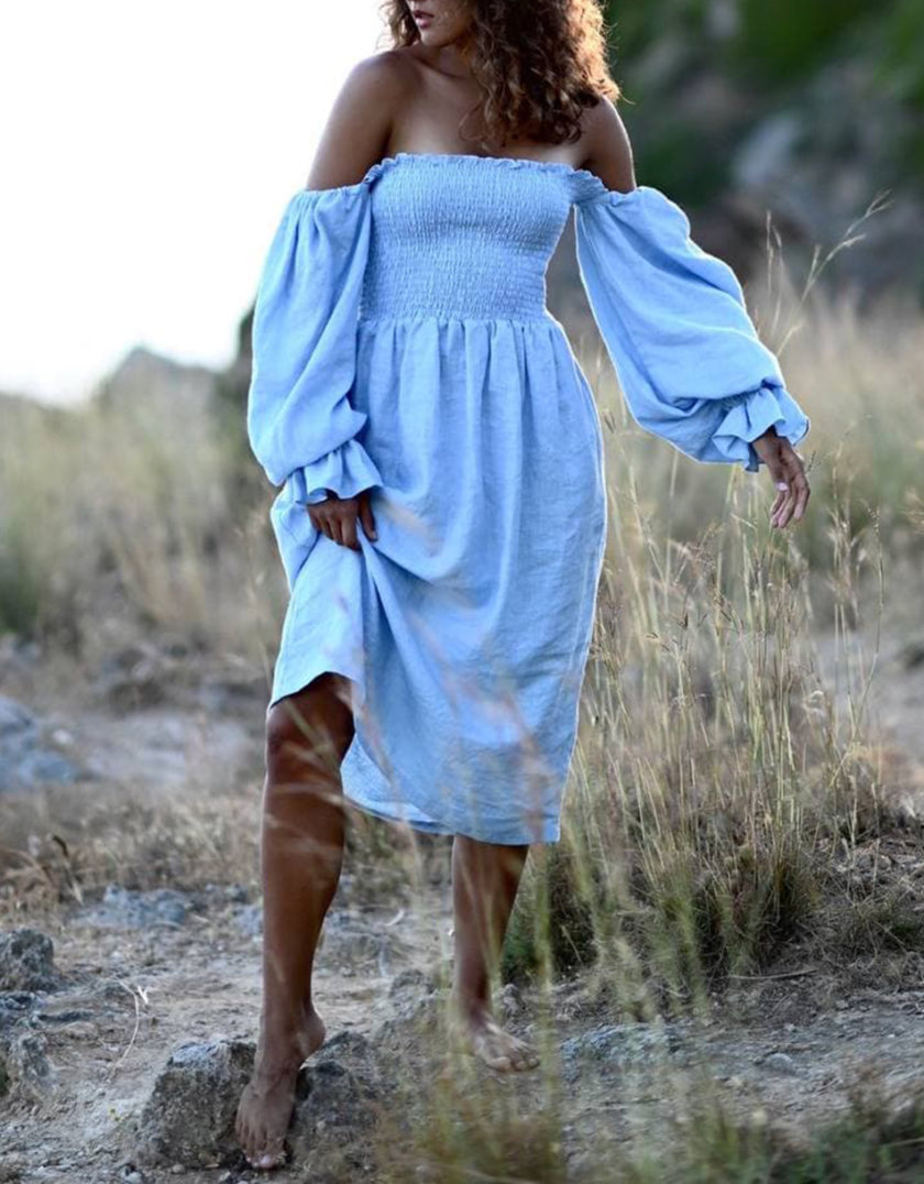 Льняное платье с эластичным лифом и пышными рукавами MRND_М115-1, фото 1 - в интернет магазине KAPSULA
