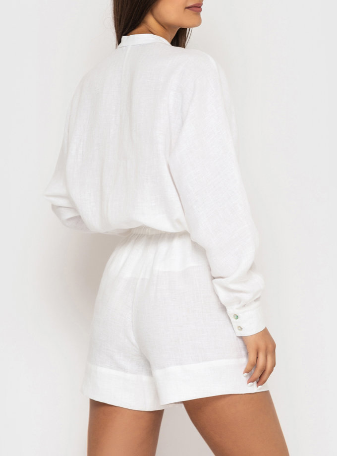 Льняные шорты на резинке MRND_М113-1, фото 1 - в интернет магазине KAPSULA