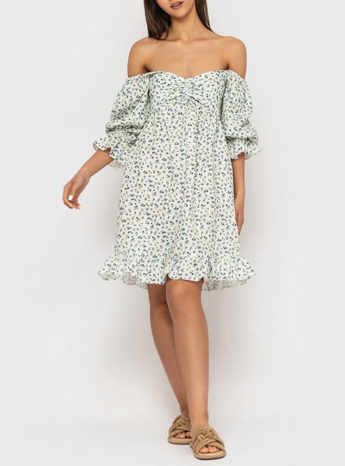 Льняное платье со сборкой на лифе и рукавами-буфами MRND_М93-1, фото 1 - в интернет магазине KAPSULA