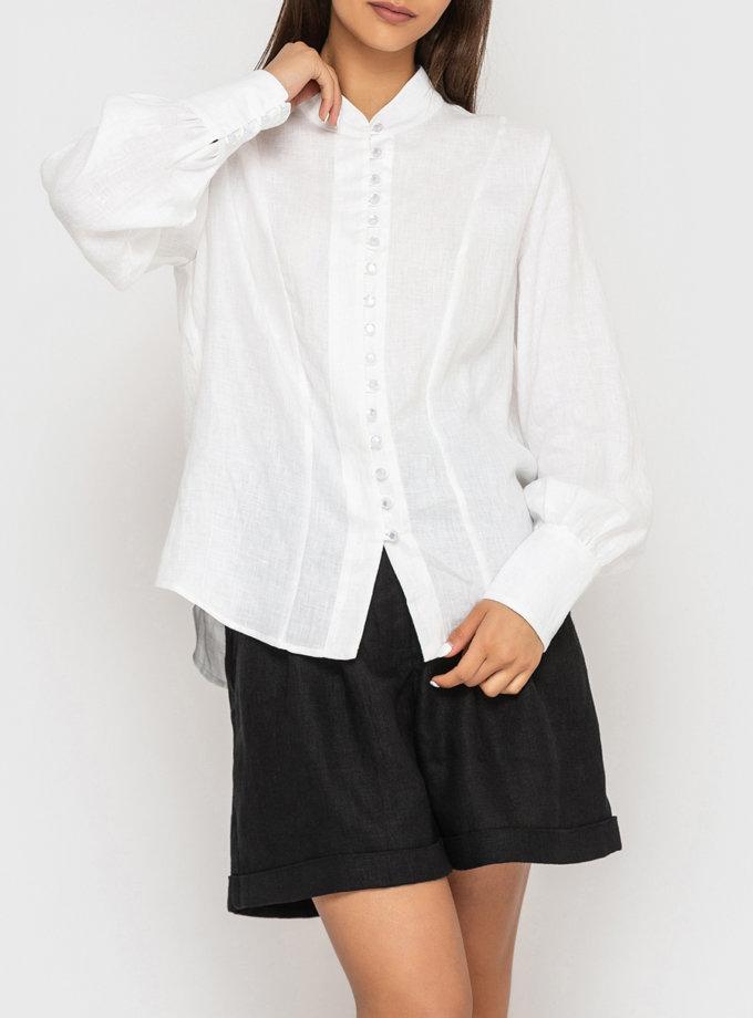 Лляна сорочка з коміром стійкою MRND_М94-1, фото 1 - в интернет магазине KAPSULA