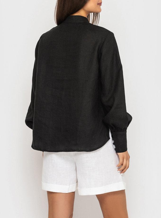Лляна сорочка з коміром стійкою і широкими манжетами MRND_М94-2, фото 1 - в интернет магазине KAPSULA