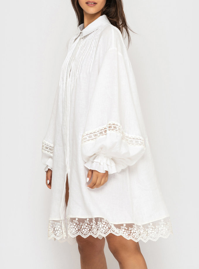 Льняное платье-рубашка с кружевом и пышными рукавами MRND_М96-1, фото 1 - в интернет магазине KAPSULA