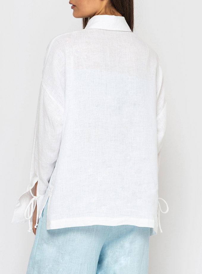 Льняная рубашка с широкими манжетами и завязками MRND_М97-1, фото 1 - в интернет магазине KAPSULA