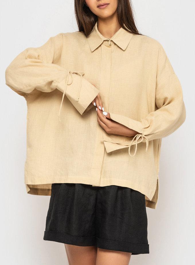 Лляна сорочка з широкими манжетами та зав'язками MRND_М97-2, фото 1 - в интернет магазине KAPSULA