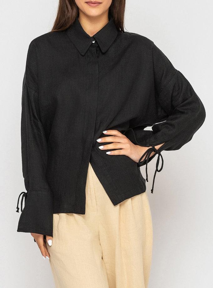 Льняная рубашка с широкими манжетами и завязками MRND_М97-3, фото 1 - в интернет магазине KAPSULA