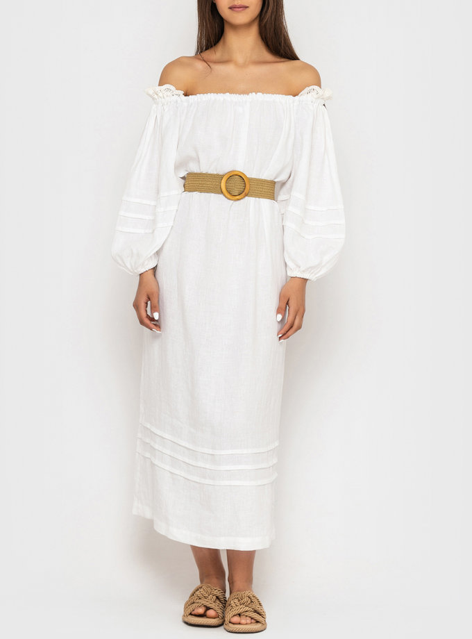 Льняное платье миди с кружевом на плечах MRND_М98-1, фото 1 - в интернет магазине KAPSULA