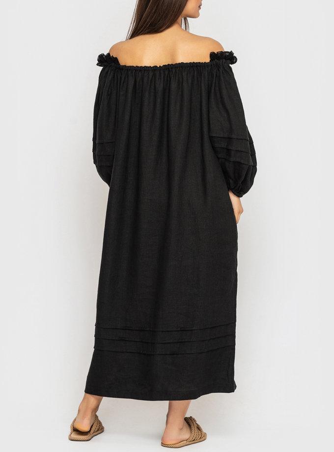 Льняное платье миди с кружевом на плечах MRND_М98-2, фото 1 - в интернет магазине KAPSULA