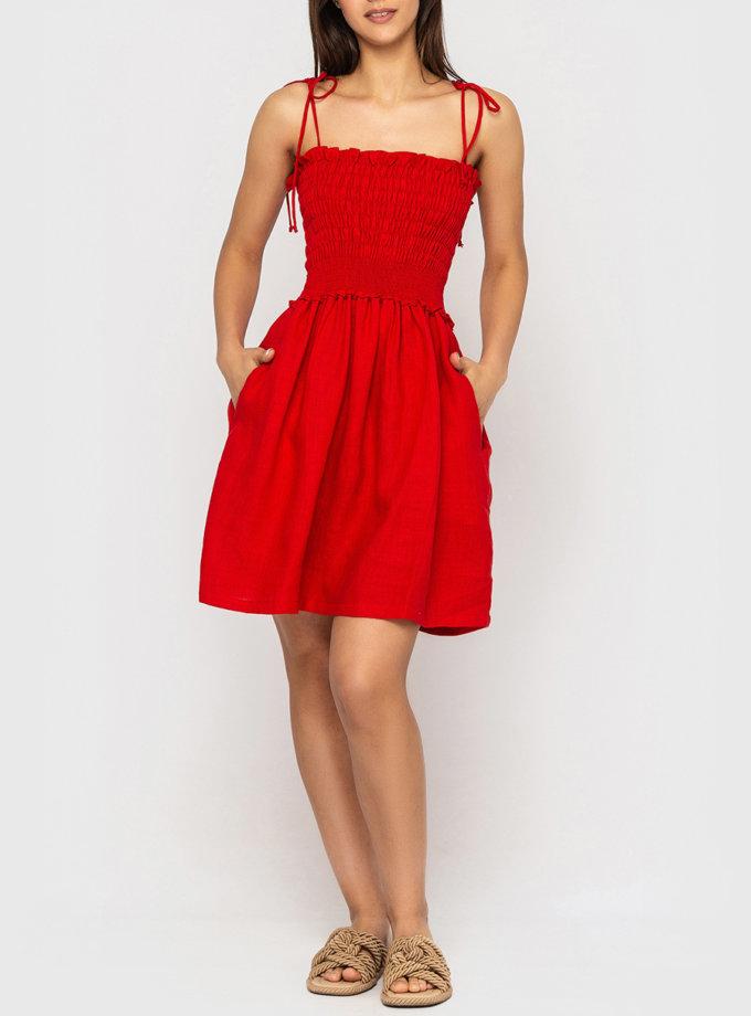 Лляна сукня міні на бретелях MRND_М99-2, фото 1 - в интернет магазине KAPSULA