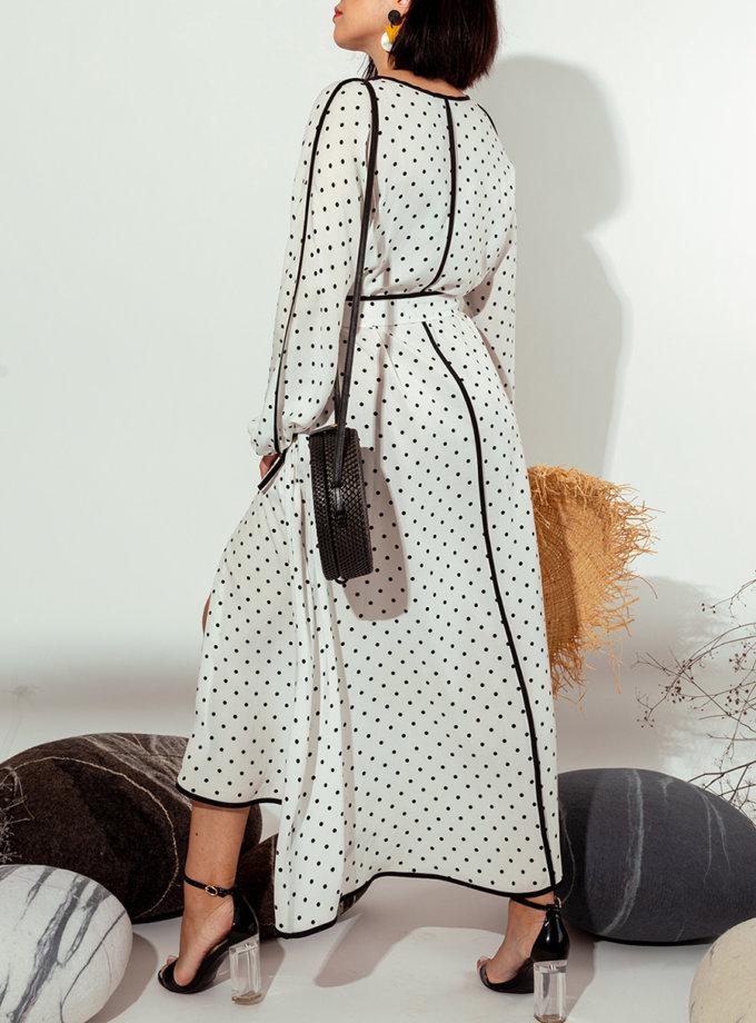 Платье на запах MMT_022b-black-white, фото 1 - в интернет магазине KAPSULA