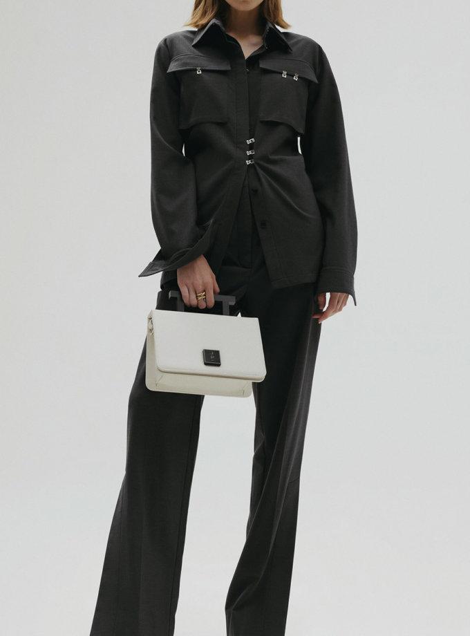 Шкіряна сумка Medium Nicole Bag in Off-White LPR_NI-BA-M-Off-White, фото 1 - в интернет магазине KAPSULA