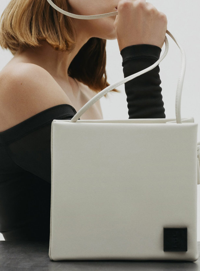 Шкіряна сумка Square Bag in Off-White LPR_SQ-BA-M-Off-White, фото 1 - в интернет магазине KAPSULA