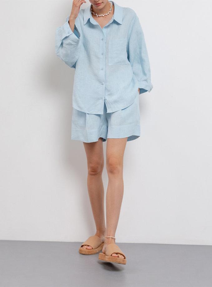 Укороченная рубашка из льна BLCGR_815, фото 1 - в интернет магазине KAPSULA