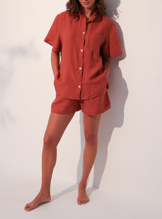 Льняная рубашка с кроп шортами SGL_SCS_LIGHTTERRACOTTA_1, фото 1 - в интернет магазине KAPSULA