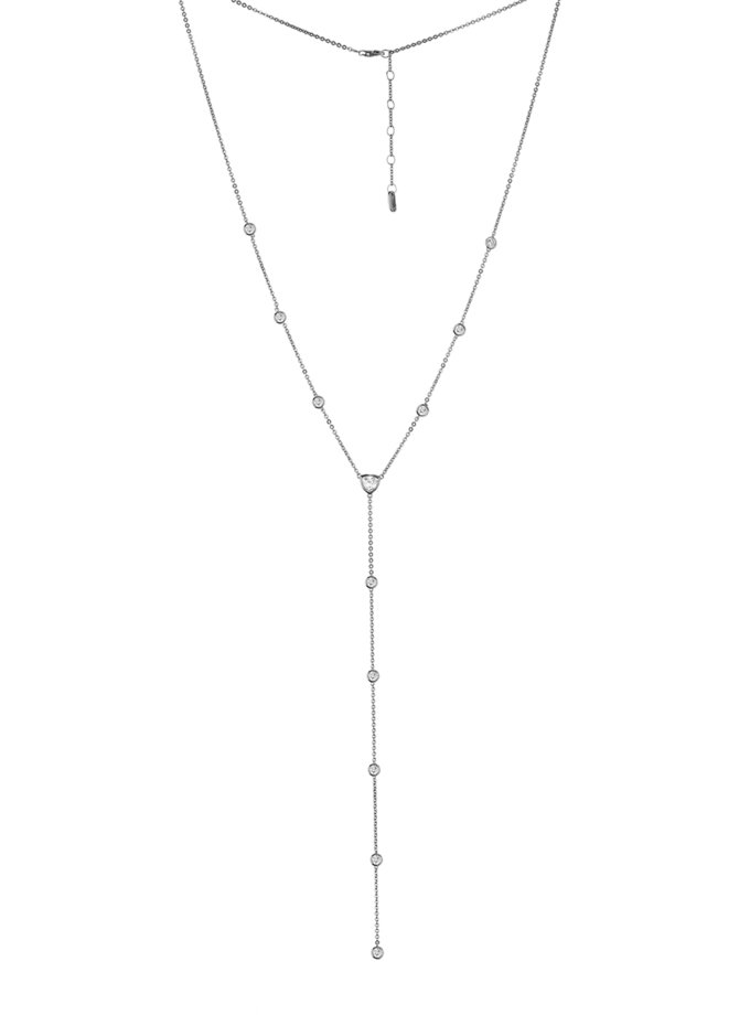 Серебряное колье-галстук с фианитами BRND_N6610109, фото 1 - в интернет магазине KAPSULA