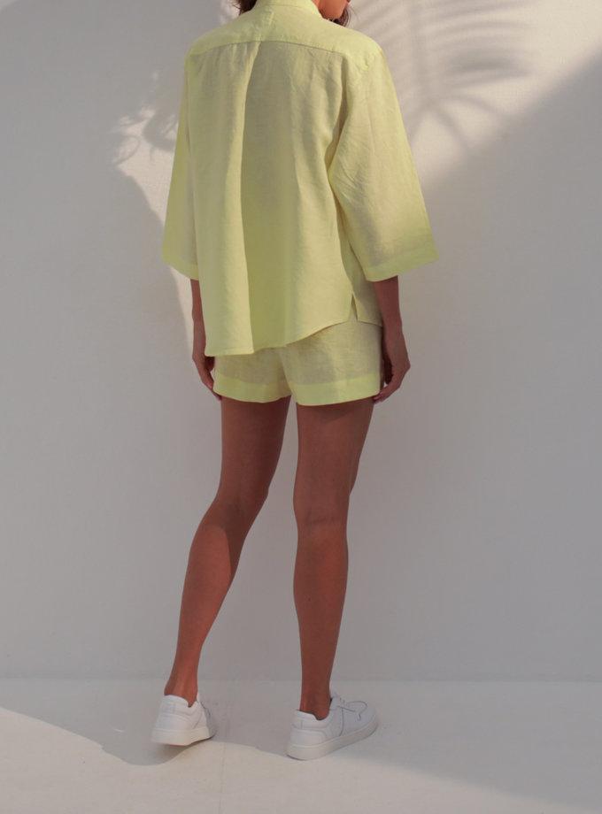 Льняная рубашка с кроп шортами SGL_SCS_LEMON_2, фото 1 - в интернет магазине KAPSULA