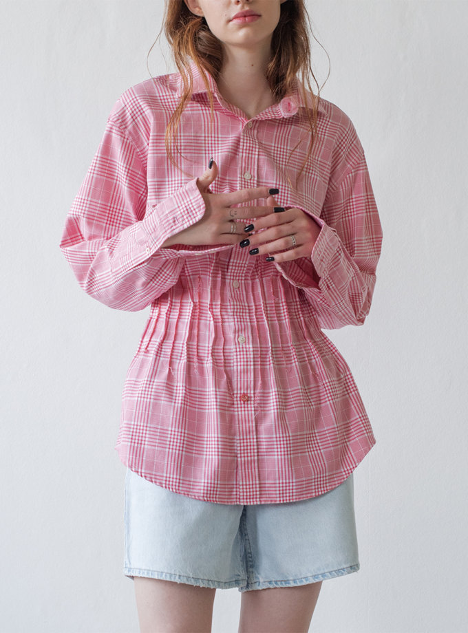Бавовняна сорочка з довгими рукавами NNB_WHITE.PINK.CHECK.long, фото 1 - в интернет магазине KAPSULA