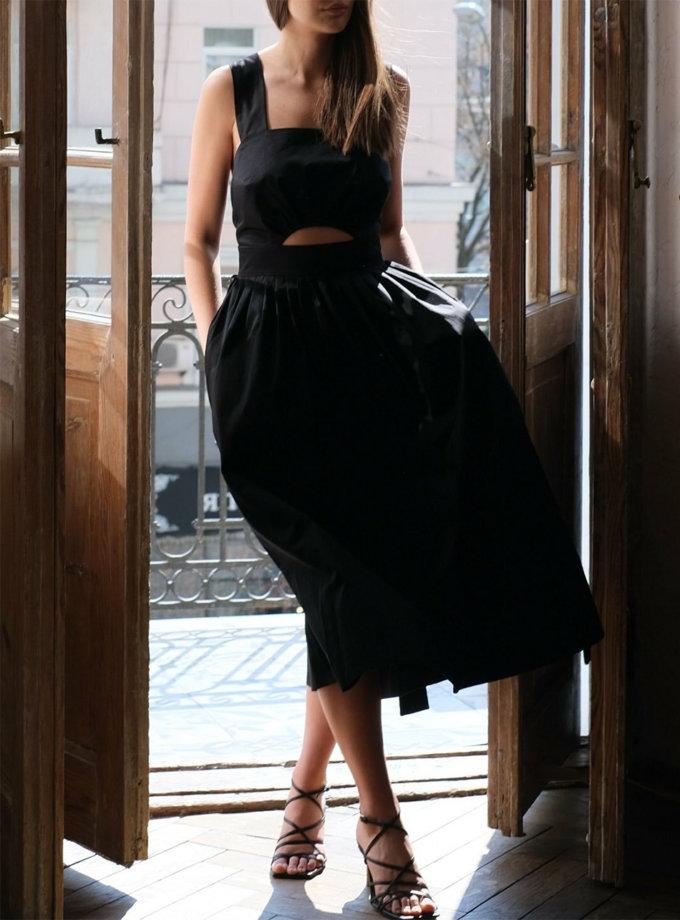 Бавовняна сукня міді з відкритою спиною MSY_Midi_black, фото 1 - в интернет магазине KAPSULA