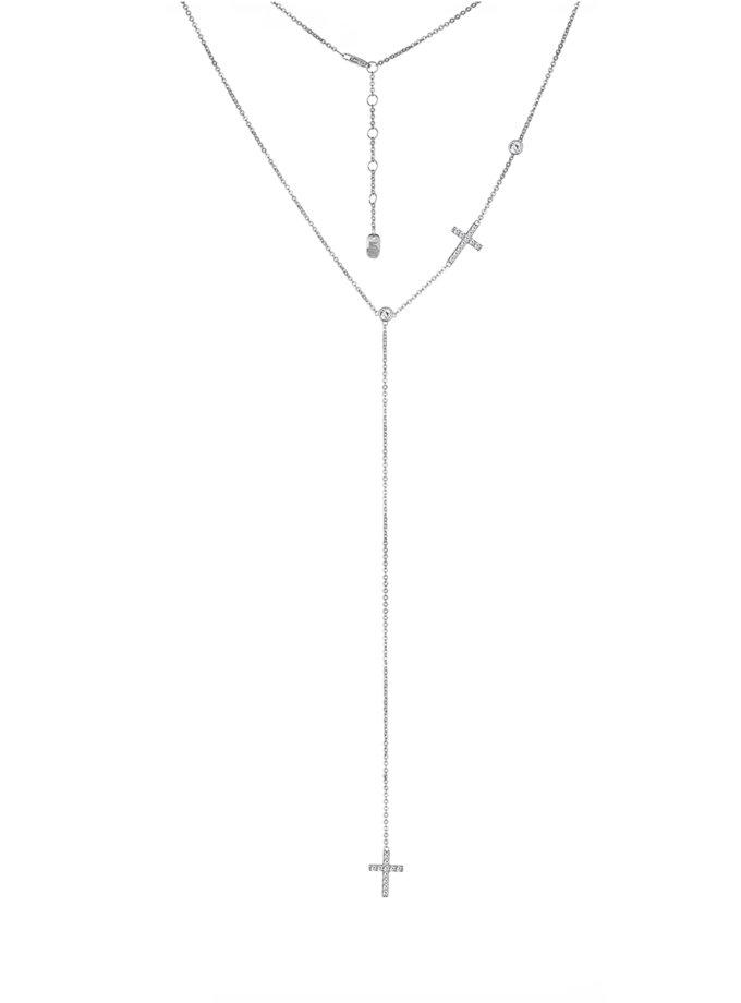 Серебряное колье-галстук с крестами BRND_N6610125, фото 1 - в интернет магазине KAPSULA
