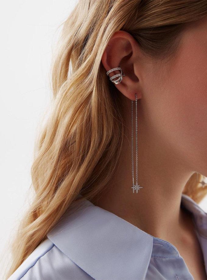 Серебряные серьги-цепочки со звездами BRND_E66120121, фото 1 - в интернет магазине KAPSULA