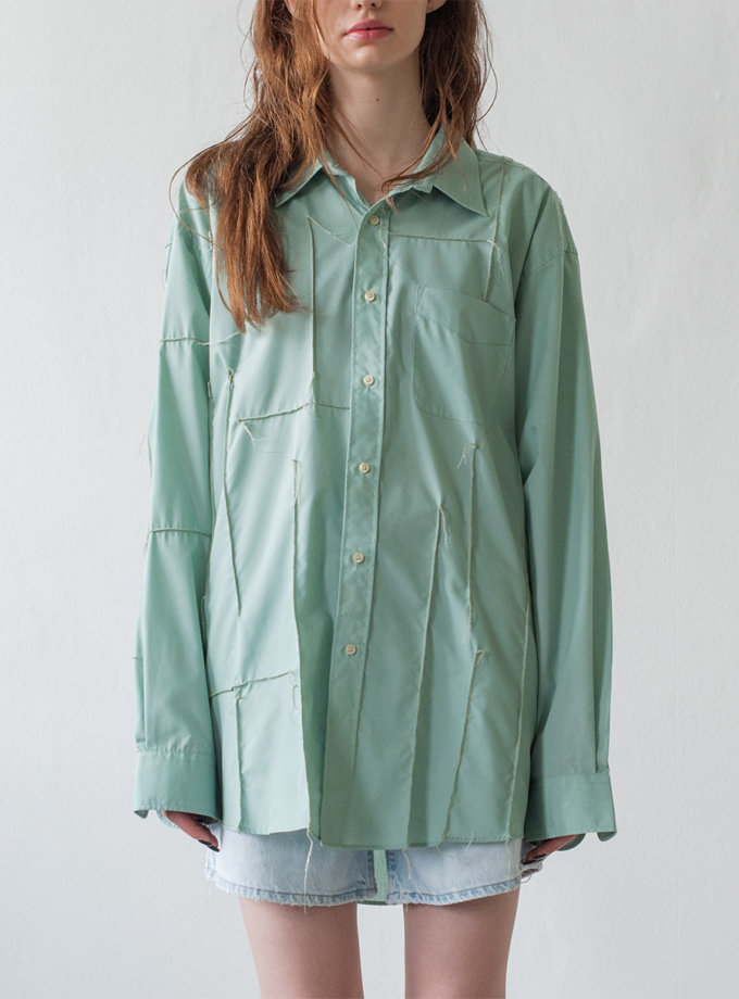 Бавовняна сорочка з довгими рукавами NNB_OLIVE.long.str., фото 1 - в интернет магазине KAPSULA