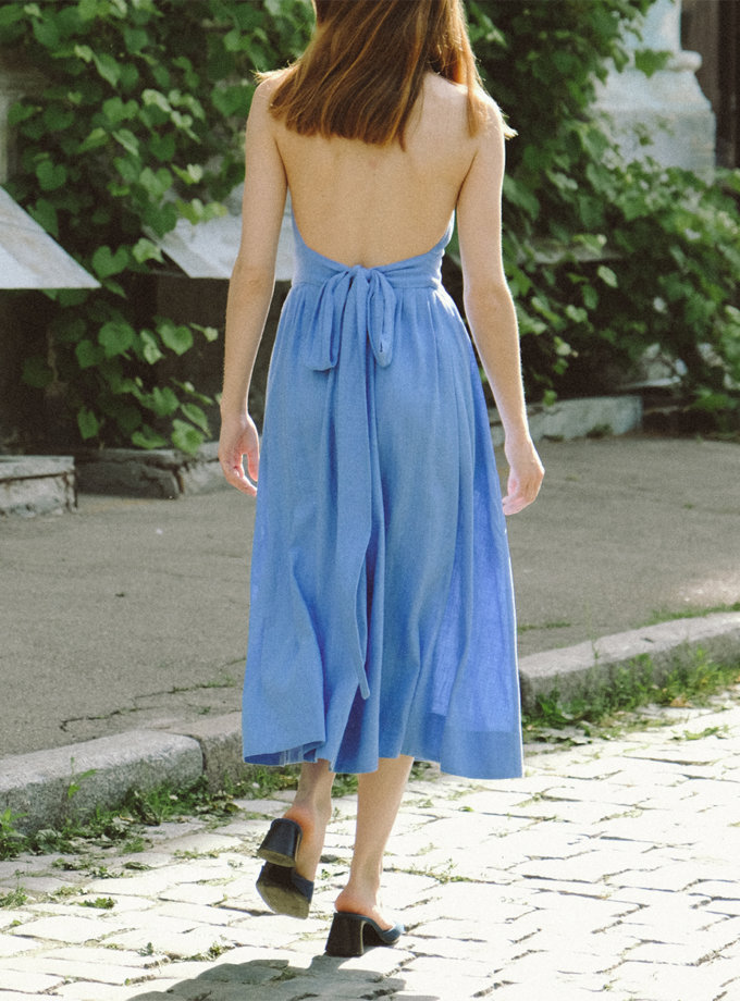 Бавовняна сукня міді з відкритою спиною MSY_Midi_blue, фото 1 - в интернет магазине KAPSULA