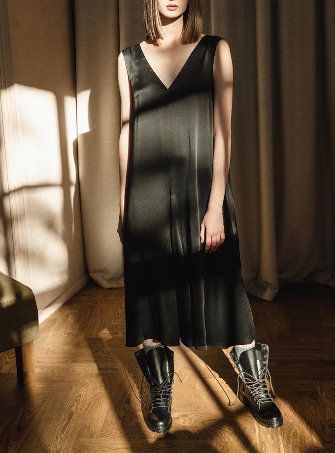 Шовкова сукня з V-вирізом LAB_00058-black, фото 1 - в интернет магазине KAPSULA