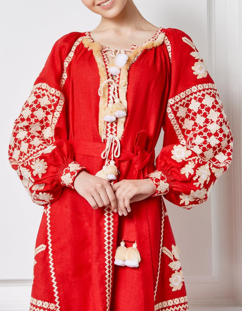 Льняное платье миди Золото FOBERI_SS20097, фото 1 - в интернет магазине KAPSULA