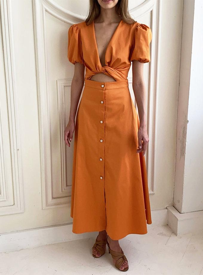 Хлопковое платье миди с завязками на талии LUSSO_SS21_5, фото 1 - в интернет магазине KAPSULA