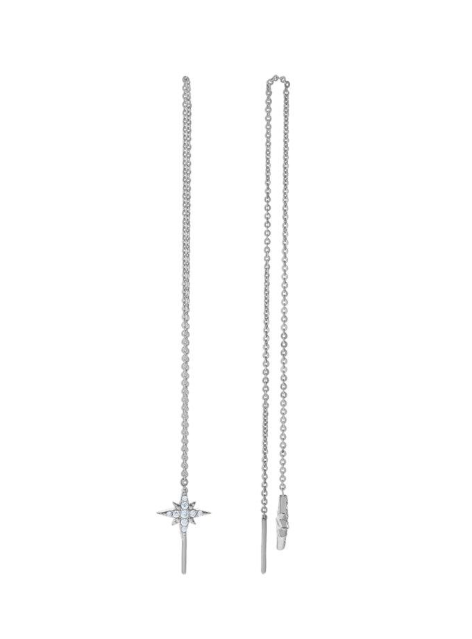 Срібні сережки-ланцюжки з зірками BRND_E66120121, фото 1 - в интернет магазине KAPSULA