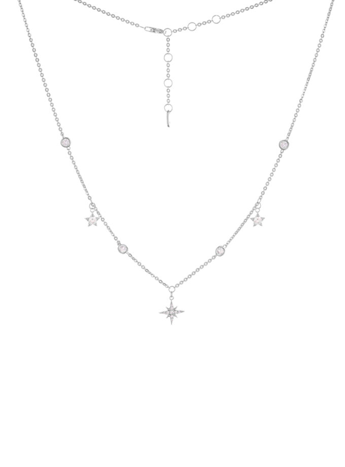 Серебряное колье со звездами и фианитами BRND_N6610124, фото 1 - в интернет магазине KAPSULA