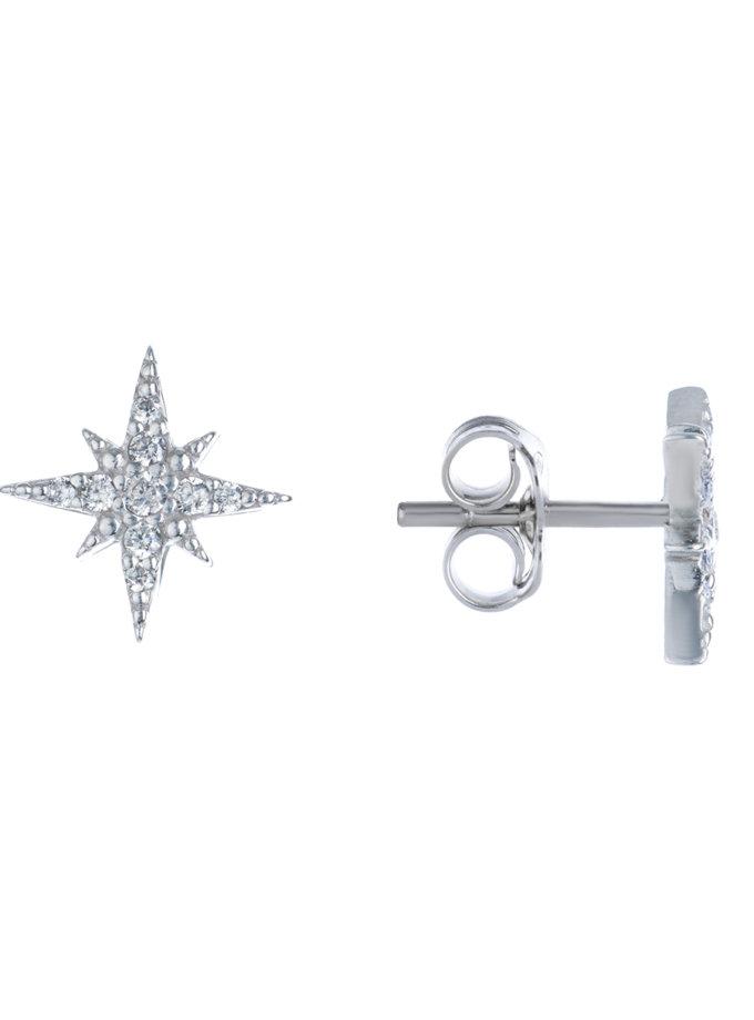 Срібні сережки-пусети з фіанітами в формі зірки BRND_E66130107, фото 1 - в интернет магазине KAPSULA