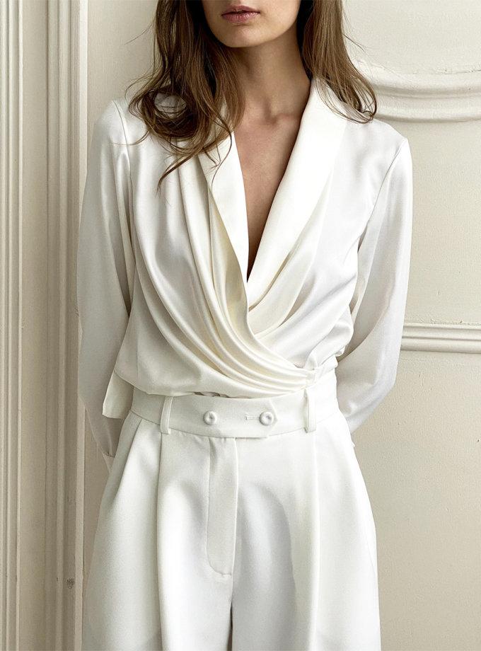 Блуза на запах с завязками LUSSO_SS21_6, фото 1 - в интернет магазине KAPSULA