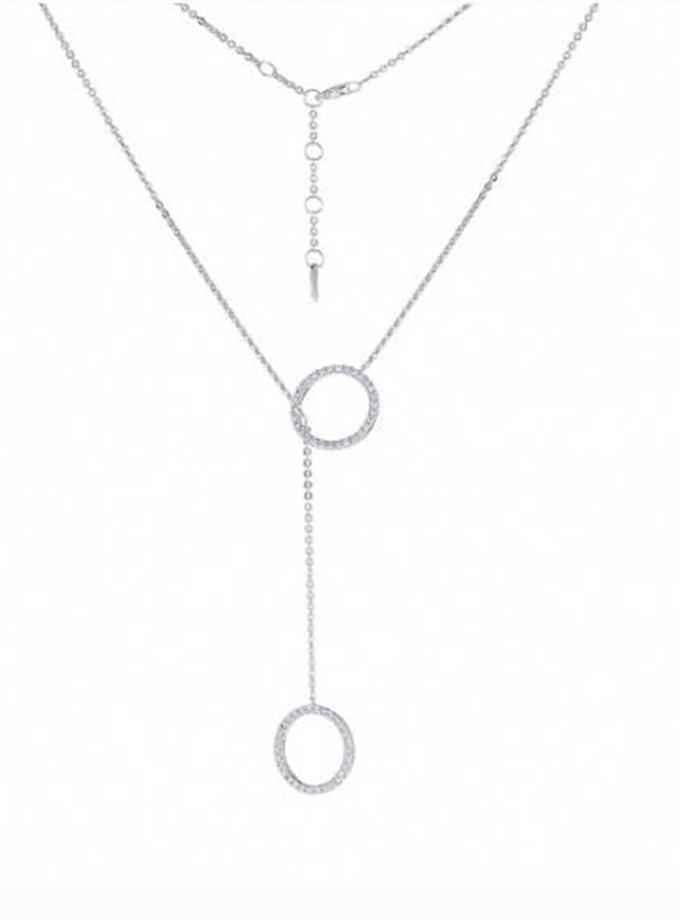Кол'є-краватка з срібла з колами BRND_N6610132, фото 1 - в интернет магазине KAPSULA
