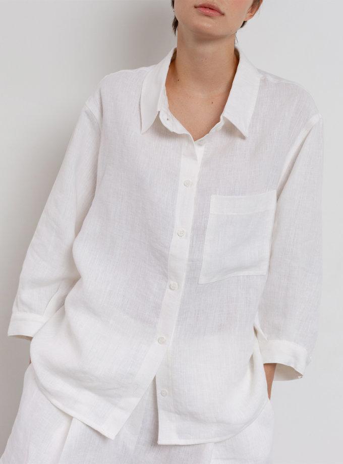 Укороченная рубашка из льна BLCGR_812, фото 1 - в интернет магазине KAPSULA