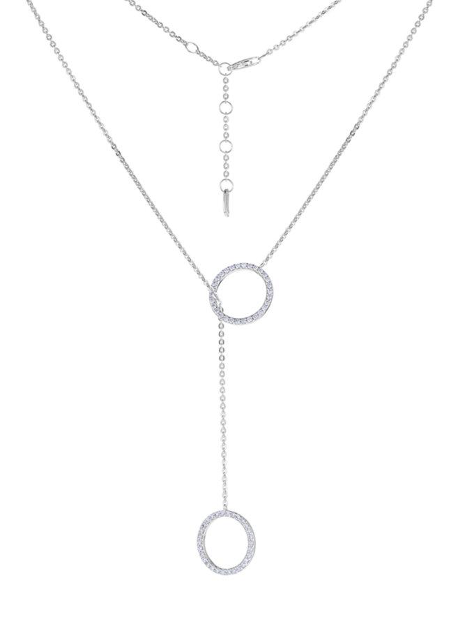 Колье-галстук из серебра с кругами BRND_N6610132, фото 1 - в интернет магазине KAPSULA