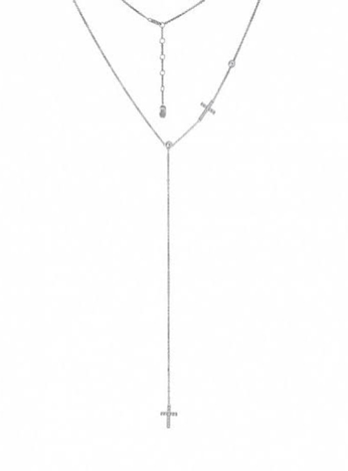 Срібне кол'є-краватка з хрестами BRND_N6610125, фото 1 - в интернет магазине KAPSULA