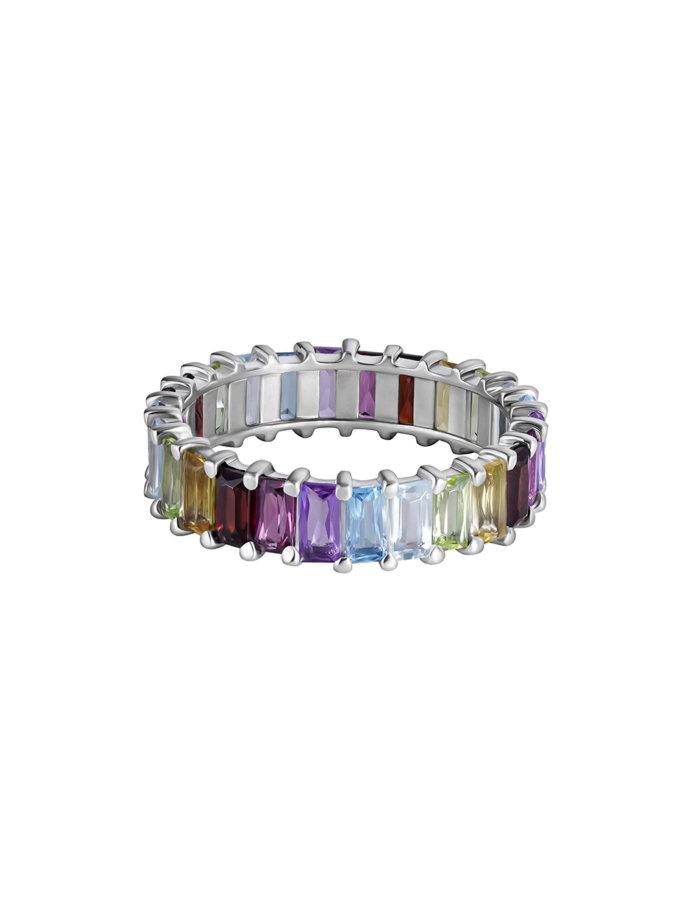 Радужна каблучка-доріжка зі срібла BRND_ШРКДС400165, фото 1 - в интернет магазине KAPSULA