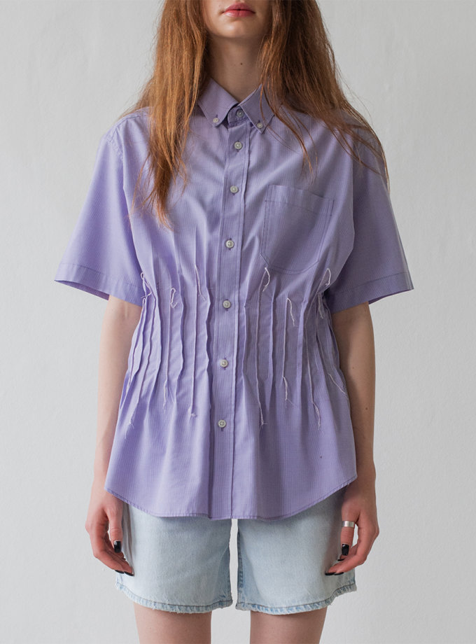 Бавовняна сорочка з короткими рукавами NNB_WHITE.PURPLE.CHECK.short, фото 1 - в интернет магазине KAPSULA